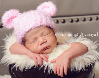 Crochet Pink Fuzzy Bear Hat with Bow