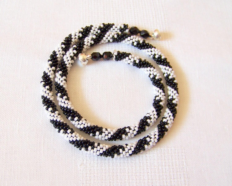 beaded crochet rope necklace beadwork seed by lutita
