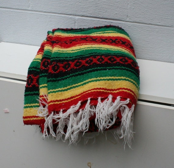 Vintage Mexican Blanket Rug / Bright Rasta Colors