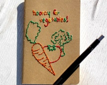 Diet Journal Hand-Embroidered Hooray for Vegetables Health Log Cooking Notebook diet notebook recipe book handmade journal vegetarian gift