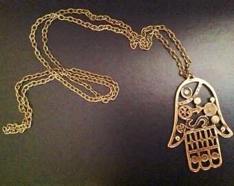 Big Hamsa Hand Necklace, Hamsa Necklace, Fatma's Hand, Antique Brass Necklace, Bohomisn Style Necklace, Long Necklace, Christmas Gift Ideas