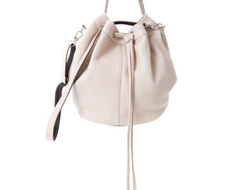 Stone Leather Draw String Bag