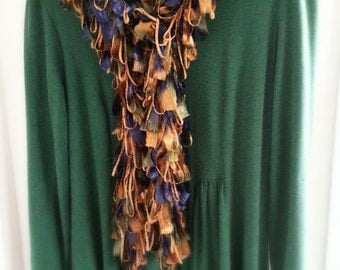 Loopy Scarf Boa in Blue, Bronze and Green...Handwashable