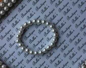 White Glass Pearl Bracelet- babys first pearls-baby shower-flower girl- newborn bracelet-Girls Bracelet