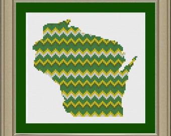 Chevron stripe Wisconsin silhouette: cool cross-stitch pattern