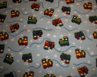 Trains, flannel, fitted Crib/toddler sheet