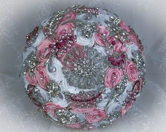 Pink and White Wedding Brooch Bouquet, Bridal Bouquet, Rose Bouquet, Silk Wedding Bouquet, Bridesmaid Bouquet, Brides Bouquet, Made to order