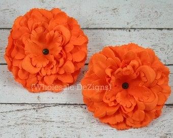 "Clearance Orange Silk Peony flowers - 4 inches Flower Heads - 4"" - 2 Peonies"
