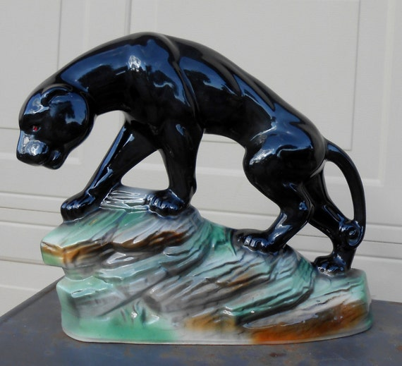 Vintage Ceramic Tv Lamp Black Panther