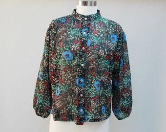 70s Vintage Sheer Floral Billowy Blouse - M/L