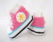 Pink White Crocheted Converse Style Pink and White Baby Booties-Converse Style Booties-Bootees-Shoes