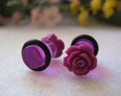 Fuchsia Rose Single Flare Plugs 0g- Pair