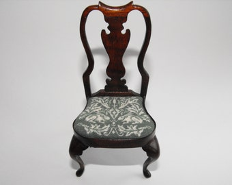 NEW further REDUCED PRICE!!! Queen Anne Mahogany Miniature chair with William Morris Rabbit tapestry seat cover