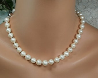 Wedding White Pearl Necklace,18inch, Hand Knotted,  Round Pearls, AAA Grade 10mm Pearls.