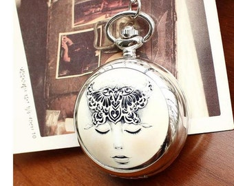 1pcs 45mmx45mm silver color girl pocket watch charms pendant PW182