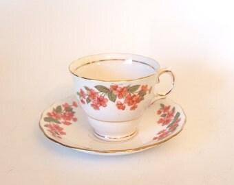 Vintage Floral Colclough Fine Bone China Teacup and Saucer Set - Mid Century - England