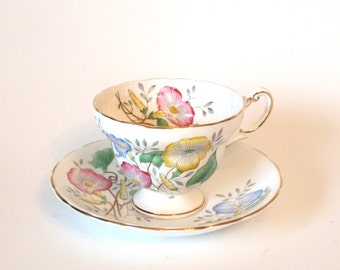 Vintage Teacup and Saucer Set Hand Painted Victoria Cartwright & Edwards Fine China Tea Cup with Petunias Pink Yellow Blue - England