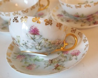 Vintage Tea Cup Set Hand Painted China Teacups and Saucers Pastel Floral with Gold Handles Set of 3 Shabby Cottage Chic Afternoon Tea