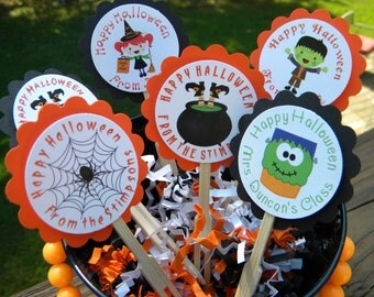 Personalized Halloween Cupcake Toppers - Halloween Cupcakes - Cute Halloween Cupcake Toppers - Halloween Party Cupcake Toppers - Halloween