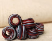 Polymer squiggle, large hole beads, red, white and blue in a set of 8