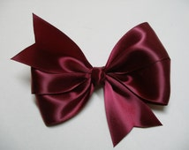Solid Simple n Dressy Satin Ribbon Boutique 4 inch Hair Bow Wine Merlot Burgundy Toddler Girl Classic Traditional Style Photo Prop Easter