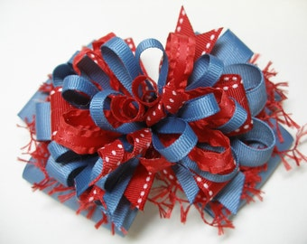 Hair Bow Red Chambray Blue Gray Unique Uniform Big Boutique Toddler Girl Korkers Back to School Handmade