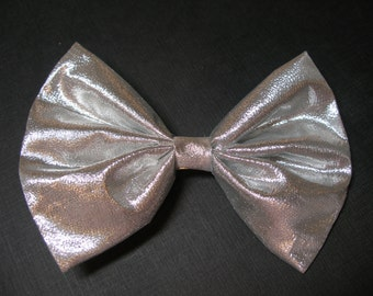 Silver Glitz Lame Hair Bow Handmade Simple Holiday Wedding Christmas Flower Girl Pageant Boutique