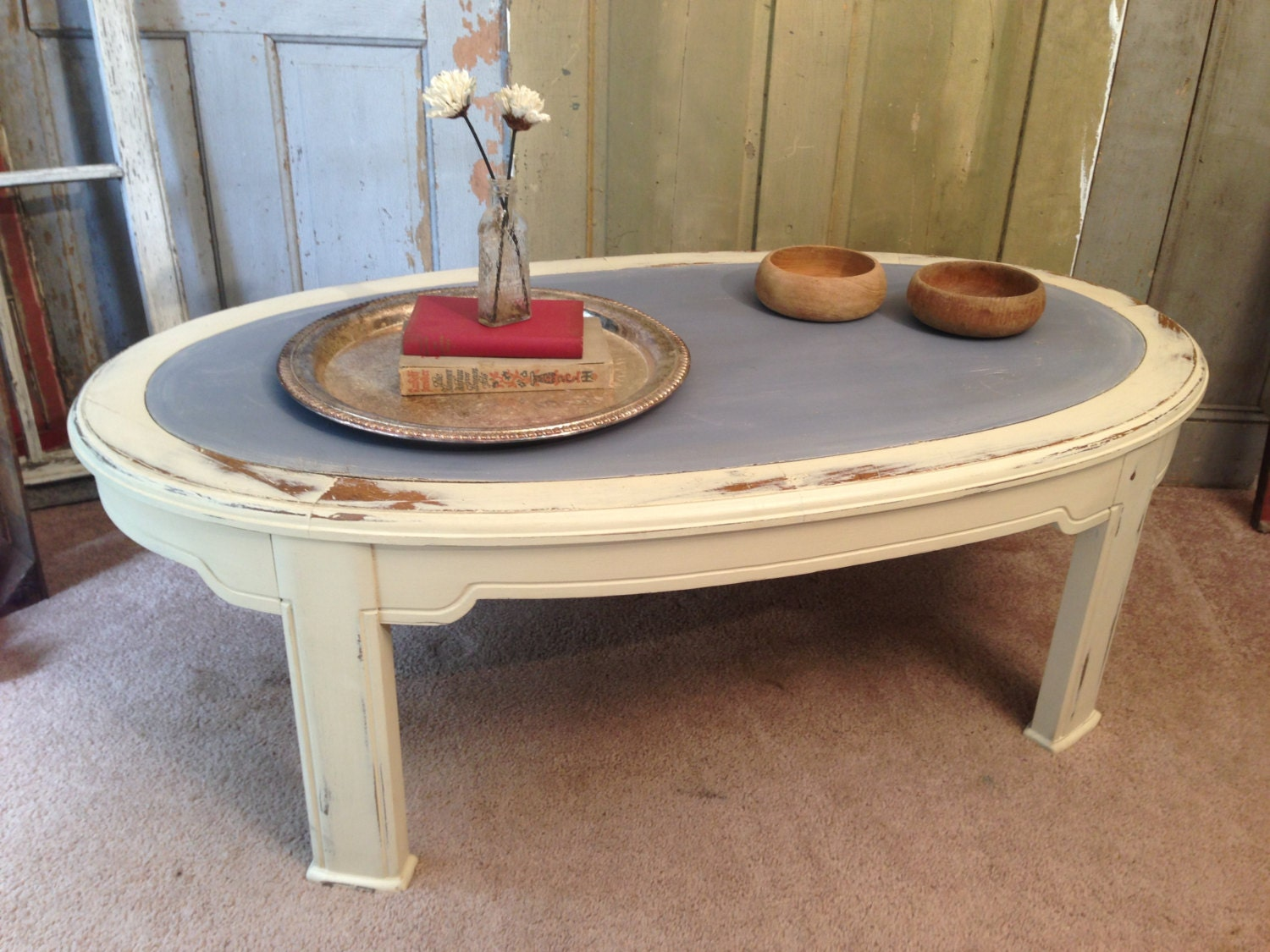 Painted Coffee Table Beach Cottage Distressed Furniture