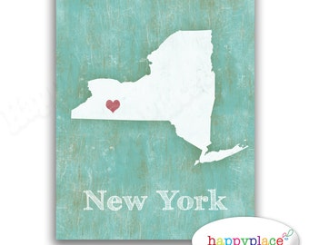 CHOOSE ANY State or Country to be created in this style. Custom Map in large size. Distressed Turquoise background with travel or heart map.