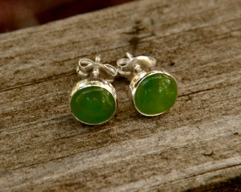 Jade Earrings in Sterling Silver, 6mm Jade Earrings Stud