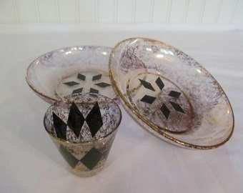 Vintage Georges Briard Flecked Gold Bowls and Glass