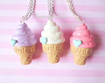 Pastel Fairy Kei Ice Cream Cone Necklace (Choose One)