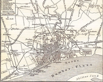 1898 Kingston upon Hull often referred to as Hull in East Riding of Yorkshire Original Antique Map Print