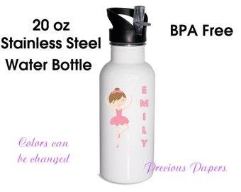 Personalized stainless steel water bottle - ballet water bottles - ballet metal water bottle ballet stainless steel water bottle