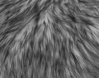 """Arctic Shaggy Faux Fur Fabric - GRAY - Sold By The Yard 60"""" Width"""
