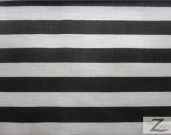 "Striped/Stripe Poly Cotton Print Fabric  - Black/White Stripe 1"" -"