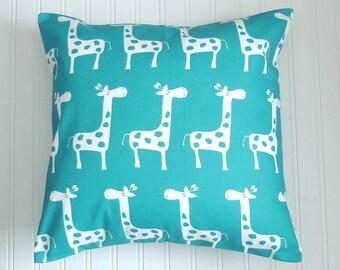 Blue Pillow. Giraffe Pillow. Blue Nursery Pillow Accent Pillow Throw Pillow 20 x20 Pillow Decorative Pillow Cover.