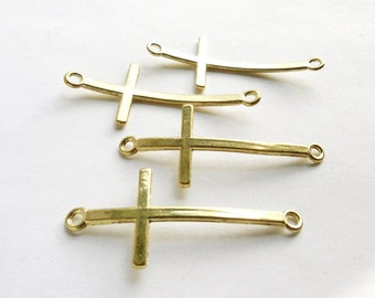 4 Gold Plated Sideways Cross Connector Charms - 2-C-7