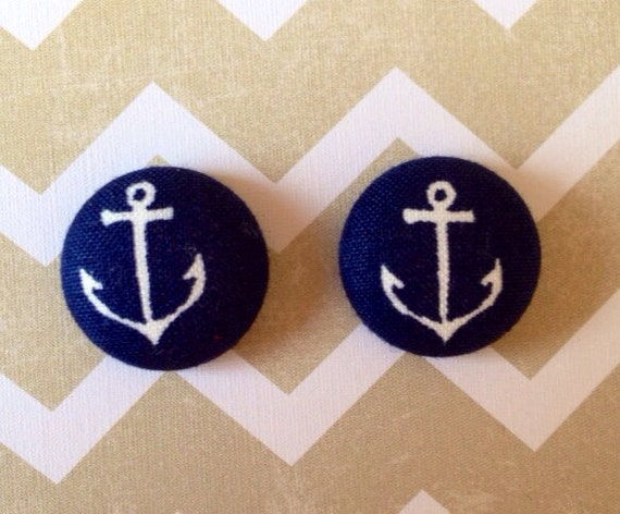 Navy Blue and White Anchor Nautical Fabric Earrings