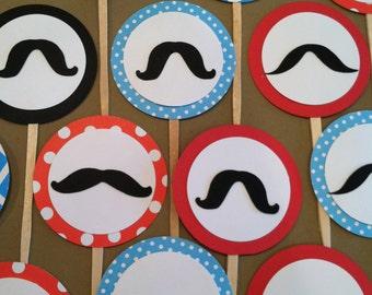 Little man mustache cupcake toppers