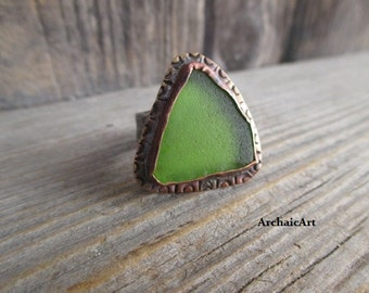 Copper and Silver Ring Green Mendocino Fort Bragg Glass Beach Glass Hand Stamped Rustic Design Adjustable 7.5 to 9.5