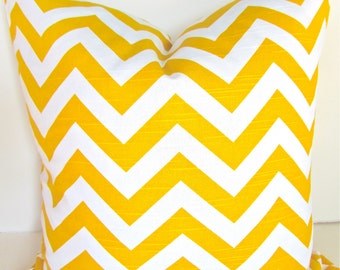 Yellow PILLOW COVER YELLOW Chevron Throw Pillow Covers Decorative throw pillows 16 x 16 Chevron Pillows Home and Living Home decor