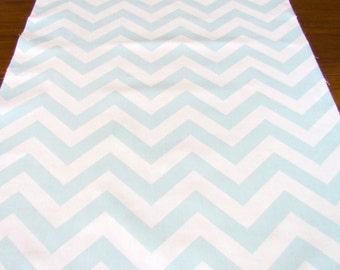 TABLE RUNNER Light BLUE  Wedding top Chevron Table Runners baby shower Party baby blue Table Cloth 48 60 72 84 96