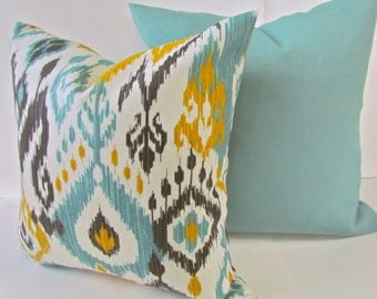 PILLOWS SET of -2 Outdoor Mint Green Yellow ikat Throw Pillow Covers 14x14 16x16 Gold Aqua Turquoise Pillow Covers Gray Outdoor pillows