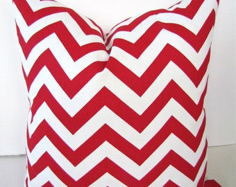 CHEVRON PILLOW COVERS Red 20x20 Decorative Throw Pillows 20 x 20 Red Chevron Throw Pillow Covers Fabric Front & Back Home and Living