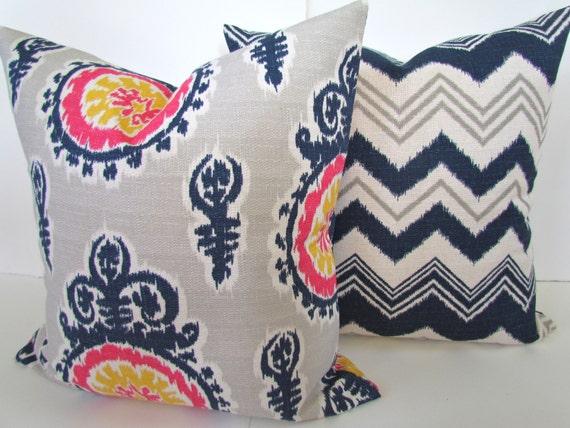 Navy And Pink Decorative Pillows: Items Similar To Navy BLUE PILLOWS SET Of 2. Navy Blue