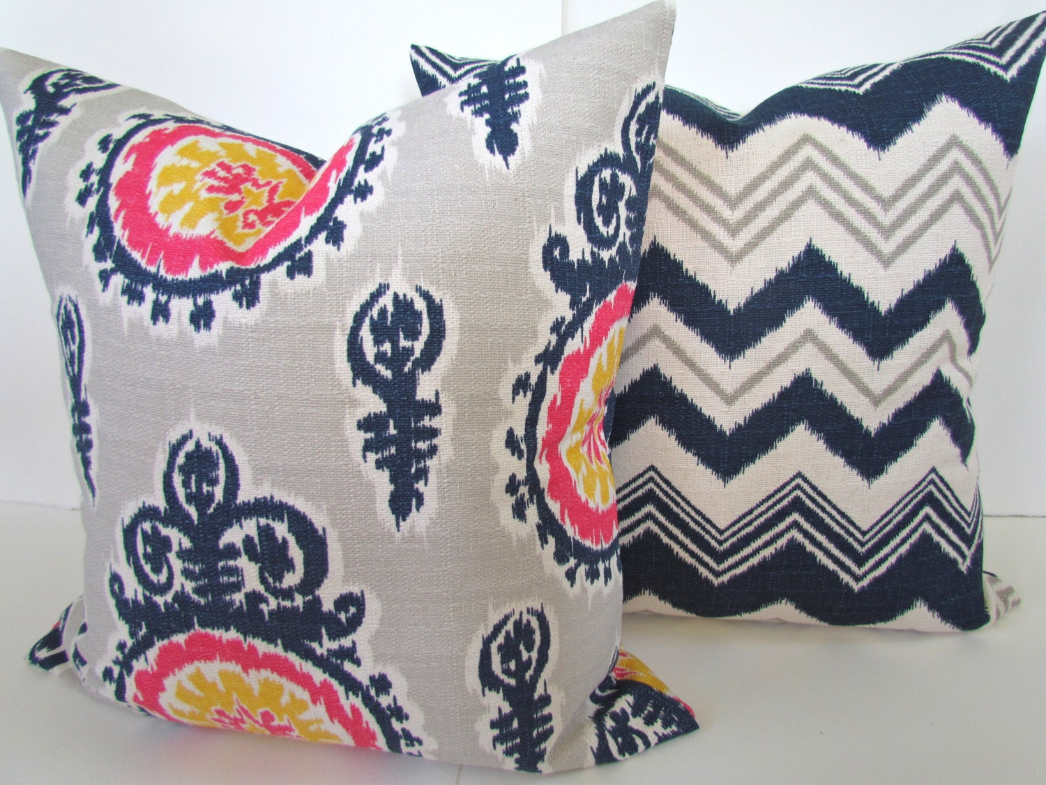 Navy BLUE PILLOWS SET of 2. Navy Blue Pillow Covers Blue Denim