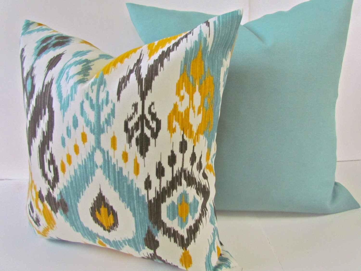 Outdoor Decorative Pillow Sets : PILLOWS SET of 2 Outdoor Mint Green Yellow ikat Throw Pillow