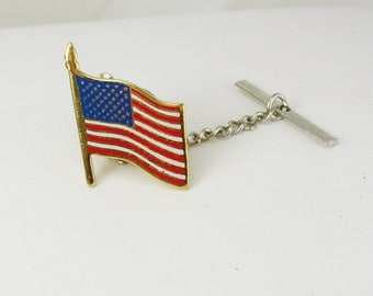 Patriotic USA Flag Tie Tac Lapel Pin Vintage Red White Blue Enamel Gold Tone Military Veteran