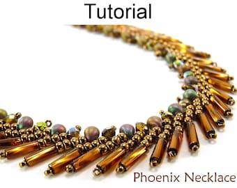 Beading Tutorial Pattern Necklace - St. Petersburg Stitch - Simple Bead Patterns - Phoenix Necklace #3339
